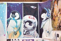 Penguin musician, penguin astronaut and penguin music illustration at Design Festa, Tokyo, Japan