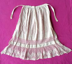 Childs Antique Victorian Edwardian Era Early 1900s White Cotton Apron, Lace Trim. $16.99