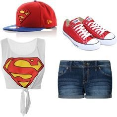 I love this superman outfit. I would mainly wear it for my bf since he loves superman! Swag Outfits For Girls, Cute Teen Outfits, Dope Outfits, Girl Outfits, Casual Outfits, Converse Outfits, Disney Outfits, Cute Fashion, Teen Fashion