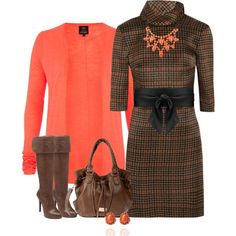 Coral and Brown Plaid, created by evam-246 on Polyvore