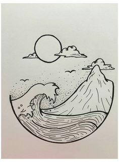 Easy Doodles Drawings, Mini Drawings, Art Drawings Sketches Simple, Pencil Art Drawings, Drawing Ideas, Cool Doodles, Tattoo Sketches, Cool Simple Drawings, Easy Nature Drawings