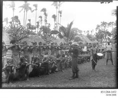 85/1284-1452 Photographic negative, Lieutenant Gaunt instructing some of Malietoa's supporters, gelatin / glass, photographer unknown, published by Kerry and Co., Upolu, Samoa, 1899 - Powerhouse Museum Collection