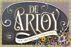 http://De Arloy is a gorgeous typeface inspired by art nouveau, a style marked by the years from 1890-1910 (turn of the decade). Detailed and ornamental, De Arloy encompasses the spirit of that particular and wondrous time in the art world.