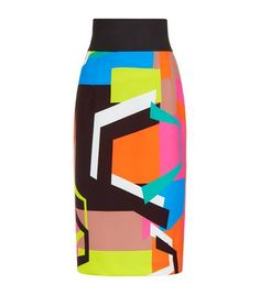 MILLY Graphic Block Print Midi Skirt. #milly #cloth #