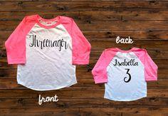 Threenager Raglan Tee Third Birthday Shirt Girls' by VazzieTees