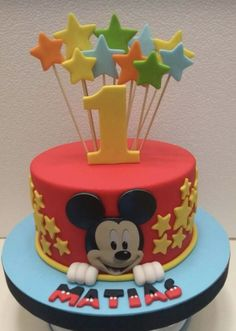 How To Make Icing For Cake Decorating Mickey Mouse Torte, Mickey And Minnie Cake, Bolo Mickey, Mickey Mouse Birthday Cake, Mickey Cakes, Boys First Birthday Cake, Baby Birthday Cakes, Pastel Mickey, Cake Designs For Boy
