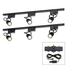 Pro Track Black 300w 6 Light Lv Plug In Linear Track Kit