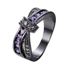 Bamos Jewelry Amethyst Purple Diamonds New Year's Best Friend Engagement Gift X Shape Cross Black Gold Womens Ring Size 5-10
