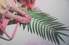 Pink shoes and palm leaves at Ryan Lo SS15 LFW. More images here: http://www.dazeddigital.com/fashion/article/21748/1/ryan-lo-ss15