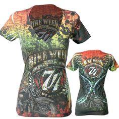 Official 2015 Daytona Beach Bike Week Map Angel Ladies T-Shirt
