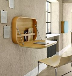 A wall mounted desk is a great space-saving solution to your home office problem. Available in every size, shape and form they are stylish and functional. Folding Furniture, Space Saving Furniture, Diy Furniture, Simple Furniture, Wall Mounted Desk Folding, Folding Study Table, Antique Furniture, Wall Mounted Computer Desk, Study Furniture Design