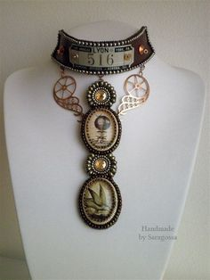 Hot Air Balloon Journey - Steampunk bead embroidered necklace with balloon cameo and copper gears. zł551.00, via Etsy.