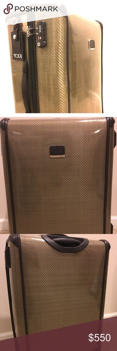TUMI Tehran-lite Medium Trip Suitcase - Gold Selling a Tegra-lite TUMI Medium Trip Packing Suitcase in gold. This item was only used once. It's in excellent condition, super light and durable. Includes a garment cover. Tumi Bags Luggage & Travel Bags