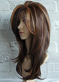 Wigbuy Hair Wigs Natural Straight Heat Resistant Fiber Long Layered Two tone Color Hair for Women (mix color 3)