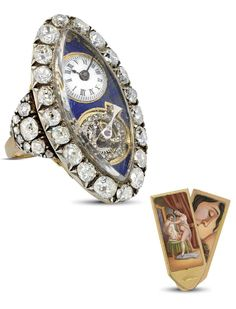 A FINE GOLD, PLATINUM, ENAMEL AND DIAMOND-SET NAVETTE-SHAPED KEYWOUND CYLINDER RING WATCH WITH CONCEALED EROTIC SCENE. Unsigned, circa 1800. Vintage Jewellery, Antique Jewelry, Silver Jewelry, Ring Watch, Bracelet Watch, Amazing Watches, Gold Platinum, Antique Gold, Erotic