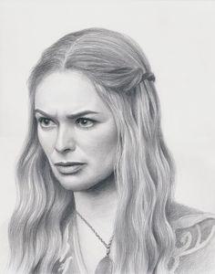 Game of Thrones fan art Cersei Lannister actress Lena Headey, Original pencil drawing portrait, GOT by Korobov