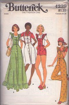 MOMSPatterns Vintage Sewing Patterns - Butterick 4239 Vintage 70's Sewing Pattern SO CUTE Ruffled Pinafore Sleeve Bib Shorts, Apron Sun Dress, Maxi Dress, Overalls Size 12