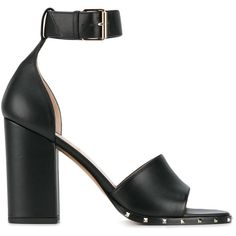 Valentino Valentino Garavani Thick Heel Sandals (30,755 INR) ❤ liked on Polyvore featuring shoes, sandals, valentino shoes, valentino sandals, leather sandals, black thick heel shoes and leather shoes