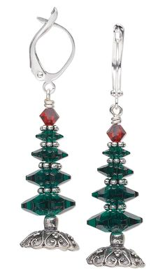 Jewelry Design - Christmas Tree Earrings with Swarovski Crystal Beads and Antiqued Sterling Silver Bead Caps - Fire Mountain Gems and Beads
