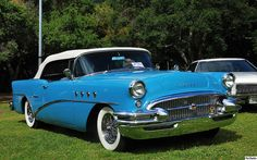 1955 Buick Century convertible - white top with Cascade Blue - fvr by Pat Durkin - Orange County, CA, via Flickr
