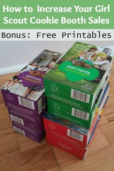 9 tips to easily increase Girl Scout cookie booth sales. How to sell more Girl Scout cookies and make your girls happy. Updated for this year's cookies - and free printables for Little Brownie Bakers and ABC Bakers! Scout Mom, Girl Scout Swap, Girl Scout Leader, Daisy Girl Scouts, Girl Scout Troop, Girl Scout Daisies, Cub Scouts, Selling Girl Scout Cookies, Girl Scout Cookie Sales