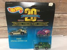 Hot Wheels 1968-1988 20th Anniversary 3 Car Set Firebird Funny Car Rescue Truck #HotWheels
