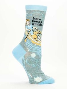Give everyone a heads up—trouble is coming and she's bringing her dog. Fits women's shoe size 5-10. 50% nylon, 48% combed cotton, 2% spandex.
