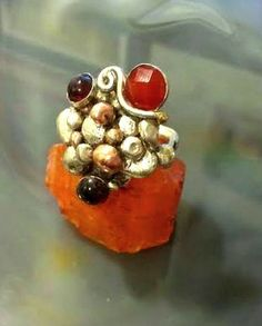 ON SALE free form silver ring copper carnelian and by EfratShifrin  Gorgeous eye catching ring!