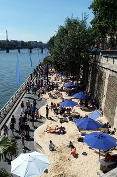 Paris Plage. A man made beach on the banks of the Seine, during July and August. Great fun!