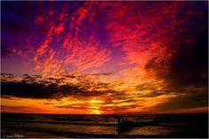 Sunset over Baltic sea, Poland