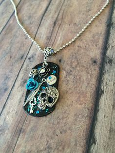Items similar to Embellished Hand Stamped Skull Dog Tag Necklace Pendant ~ Feather~Key~Flower~Crown on Etsy Hand Stamped Jewelry, Handmade Jewelry, Key Tags, My Pocket, Ring Bracelet, Dog Tag Necklace, Dog Lovers, Skull, Clay