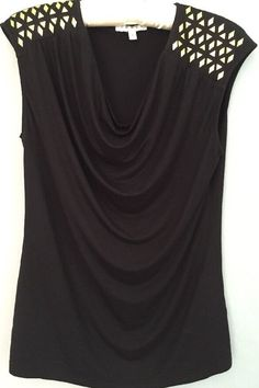 NWOT CHAUS New York Black Embellished Top Size M Retail $49 #Chaus #KnitTop #Casual