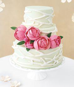 Qué bonitas las peonías incluso en una tarta...
