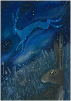 """Starlight Hare"" This is a print from an original acrylic painting on wood panel by Artist/Illustrator Karen Davis. Art And Illustration, Lapin Art, Illustrator, Watership Down, John Tenniel, March Hare, Rabbit Art, Bunny Art, Inspiration Art"