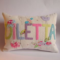 Adorable name cushions - awesome Etsy listing at https://www.etsy.com/listing/67405044/custom-made-name-cushion-slip