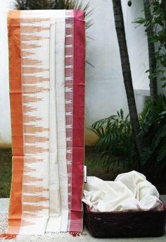 Lakshmi Temple border khadi cotton handloom saree