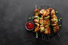 Kung Pao Chicken, Tandoori Chicken, Meat Skewers, Shish Kebab, Grilled Meat, Black Backgrounds, Grilling, Stock Photos, Ethnic Recipes