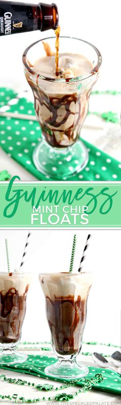 Combine two springtime favorites: mint chocolate chip ice cream and Guinness Draught into decadent Mint Chip Guinness Floats! These adult ice cream floats are the perfect dessert beverages to sip while celebrating St. Patrick's Day! Drizzle your favorite hot fudge sauce into the glasses, and then scoop in the ice cream. Pour in the Guinness, and finish with more hot fudge sauce and whipped cream. Enjoy these sweet, stout boozy floats immediately!