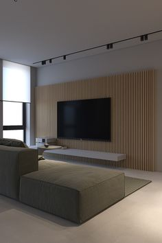 How To Light A Minimalist Interior With Single Circuit Tracks & Strips Living Room Grey, Living Room Interior, Living Room Decor, Apartment Interior, Tv On Wall Ideas Living Room, Parisian Apartment, Apartment Layout, Apartment Living, Home Room Design