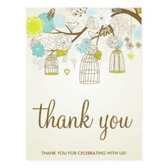 VINTAGE BLUE & YELLOW BIRDCAGES THANK YOU POSTCARD