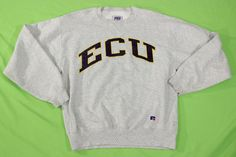 VIntage ECU Sweatshirt Sz M Gray USA MADE Pullover Crewneck East Carolina #RussellAthletic #Sweatshirt