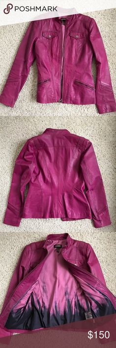 Pink leather jacket Gorgeous dark pink leather jacket, excellent quality, barely noticeable water stains on the bottom. The shape is so flattering. Fits a size XS to S. Brand is Danier (canadian leather brand) but listed under Anthropologie for visibility. Anthropologie Jackets & Coats