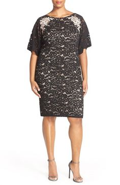 Adrianna Papell Short Sleeve Lace Sheath Dress (Plus Size) available at #Nordstrom