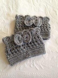 Boot Cuffs With Bows, Crochet Boot Cuffs, Boot Covers, Boot Toppers, Scalloped…