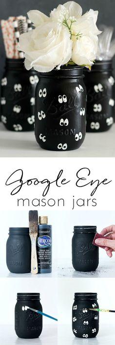 Google Eye Mason Jars for Halloween - Halloween Mason Jar Craft for Kids