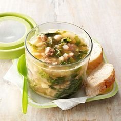 60 Cheap Dinner Ideas for Family Meals Under $10 | Taste of Home Bean Soup Recipes, Healthy Soup Recipes, Cooking Recipes, Cooking Ideas, Healthy Foods, Cannellini Bean Soup Recipe, Fagioli Soup, Soup And Salad, Soups And Stews