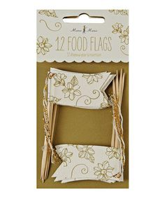 Take a look at this White & Antique Gold Floral Food Flag - Set of 12 by Meri Meri on #zulily today!