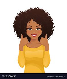 Portrait of a smiling beautiful woman with an Afro hairstyle showing thumbs up . Portrait of smiling beautiful woman with afro hairstyle showing thumbs up isolated vector illustrat Black Girl Cartoon, Black Girl Art, Black Women Art, Black Girl Magic, African American Art, African Art, Natural Afro Hairstyles, Natural Hair Styles, Natural Hair Art