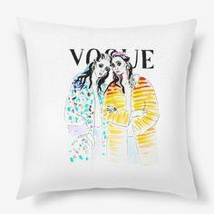 Vogue fashion illustration pillow