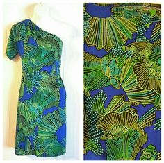 <GIANNI BINI> Bright One Shoulder Dress Colorful one shoulder dress with an elbow length sleeve. Polyester/spandex fabric that does not wrinkle. Dry clean only. Like new condition. 20% off bundles! Gianni Bini Dresses One Shoulder